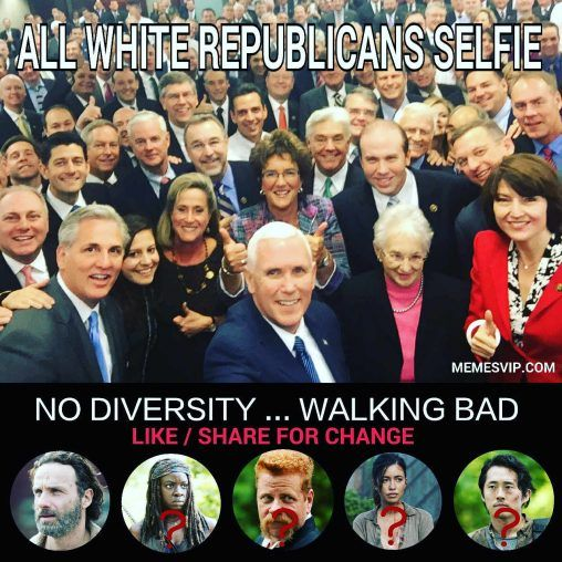 All white Republicans selfie meme